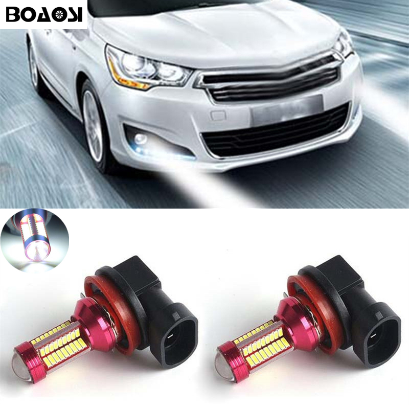 BOAOSI 2x H11 H8 LED 4014SMD Canbus Bulbs Fog Light Replacement LED Bulbs For citroen c2 c4 c4l c5 triumph цены