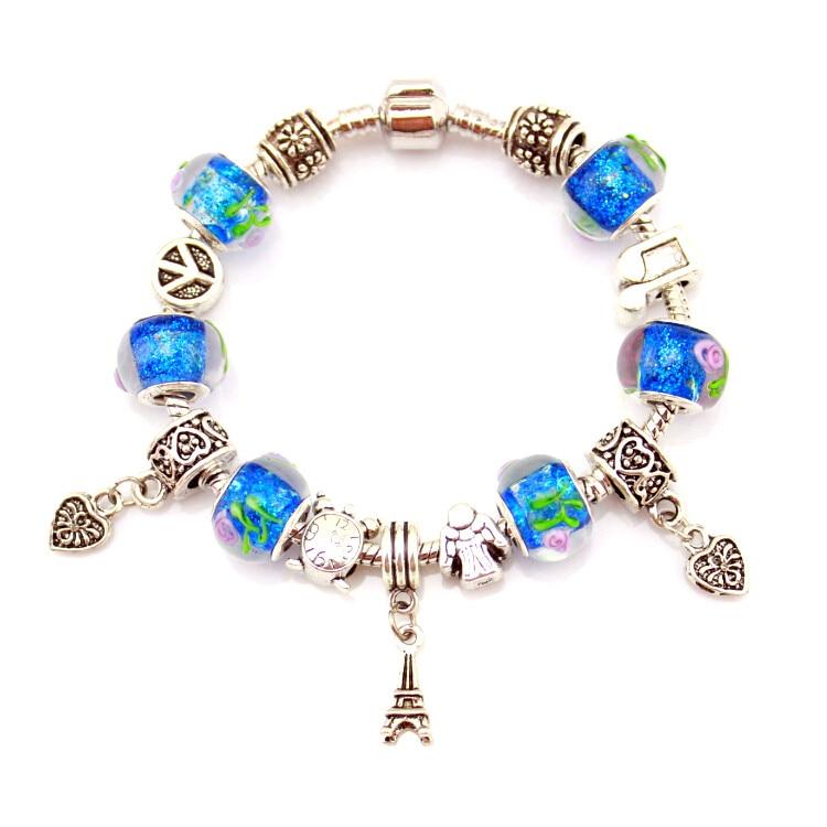 MPB Denis Antike Silber Farbe Charme Armbänder & Armreifen Murano Glas Europäischen Charme Perlen Armbänder