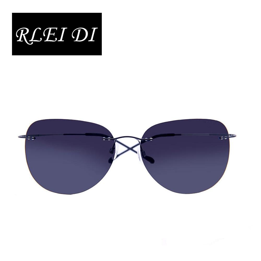 RLEI DI Titanium frame Rimless Polarized sunglasses Super light Men Driving mirror Sunglasses Women Men Sun