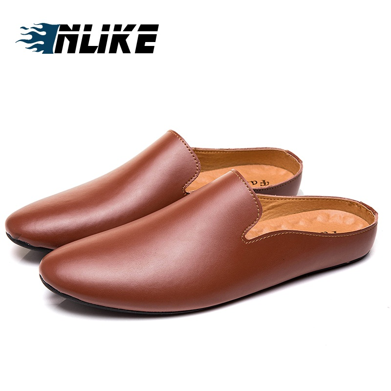 Half Slippers Men Shoes Genuine Leather Flats Mules Shoes Man Soft Leather Slipper