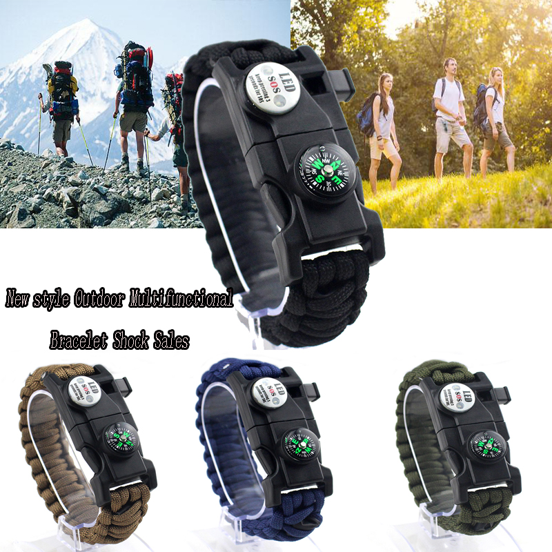 17 in 1 Camping Paracord Bracelet Rope Multifunctional LED lights Survival Whistle Compass Bracelet EDC Tool Military Emergency