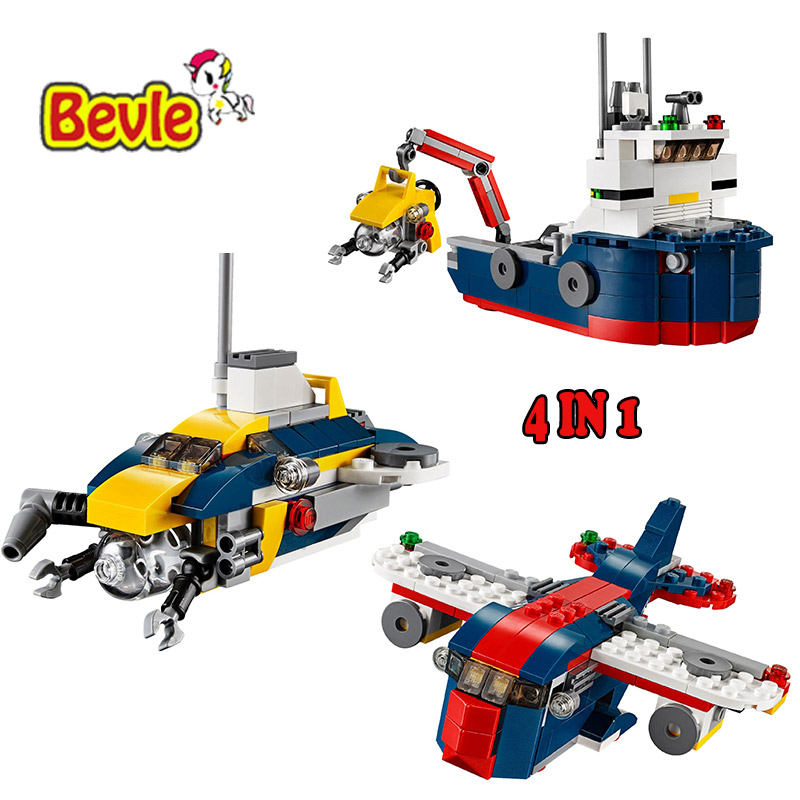Bevle Decool 3112 City Creator 4 in 1 Ocean Explorer Submarine Aircraft Building Blocks Kids Toys Compatible Lepin decool 3114 city creator 3in1 vehicle transporter building block 264pcs diy educational toys for children compatible legoe