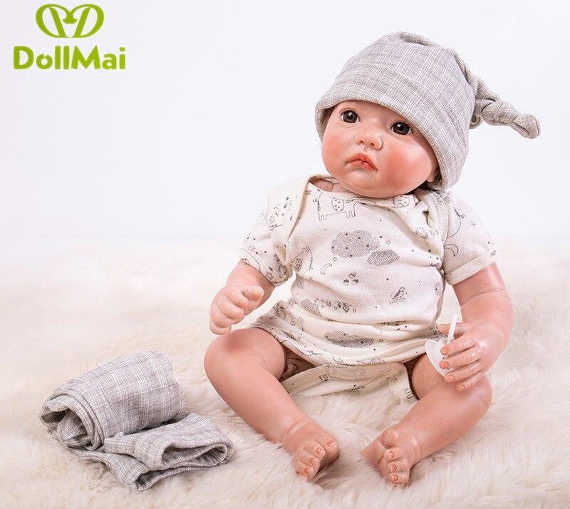 50 CM reborn bébé poupée réaliste silicone souple reborn bébé poupées vrais bébés garçon nouveau-né poupées bebes boneca reborn