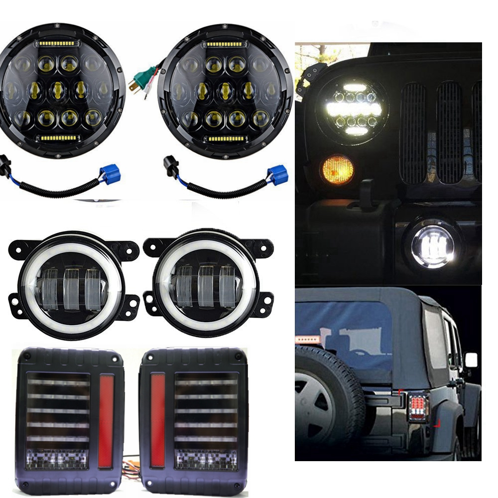 Pair 7 Inch 75W High/Low Led Headlight + 4 Inch 30W White Halo Fog Headlight + Tail Lights for 2007-2015 Jeep Wrangler Jk 1 pair 7 inch rectangular led headlight