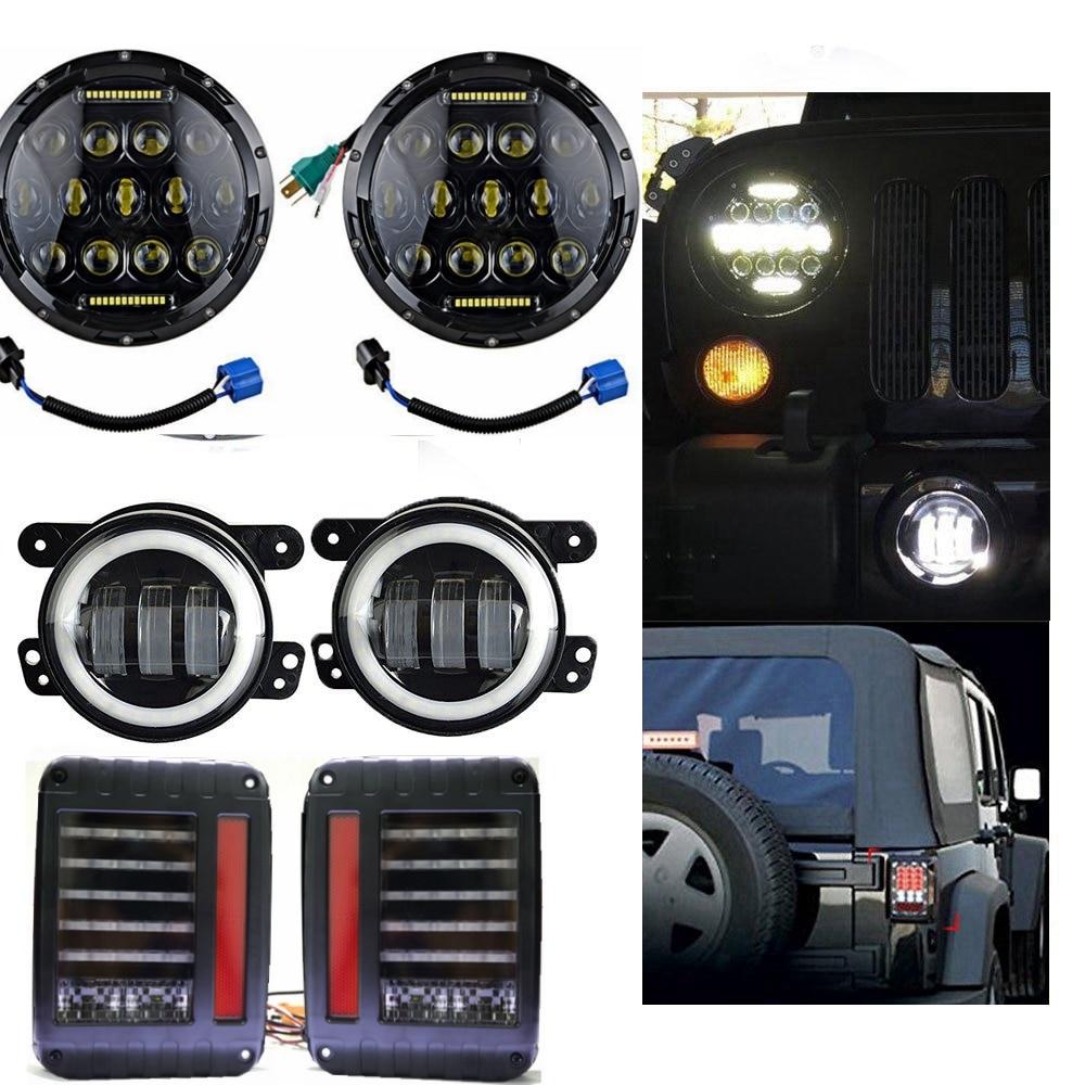 Paire 7 pouces 75 W haut/bas phare LED + 4 pouces 30 W blanc Halo phare anti-brouillard + feux arrière pour 2007-2015 Jeep Wrangler Jk