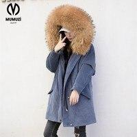 Nueva gran chaqueta de invierno mujeres parka capucha de piel de mapache verdadero natural abrigo de piel para las mujeres grueso suave forro de abrigos de piel mujer 2017