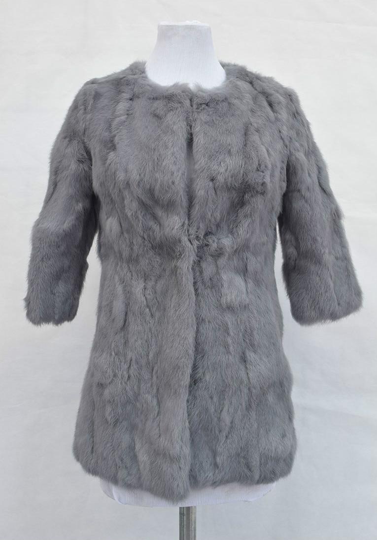 Free Shipping Natural Rabbit Fur Coat Genuine Rabbit fur Jacket Long Women Winter Rabbit Fur Waistcoat Plus Size 2017 New
