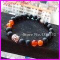 1Pc Fashion Matte Black Agate Beads Bracelet,Silver Buddha Bracelet Carnelian Agate Beads Bracelet Yoga Meditation Bracelet