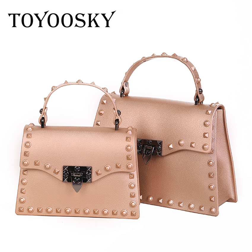 a4c95027d366 TOYOOSKY New Fashion Jelly Bag Retro Rivets Women Handbags Simple Casual  Portable Shoulder Package Ladies Square Crossbody Bags