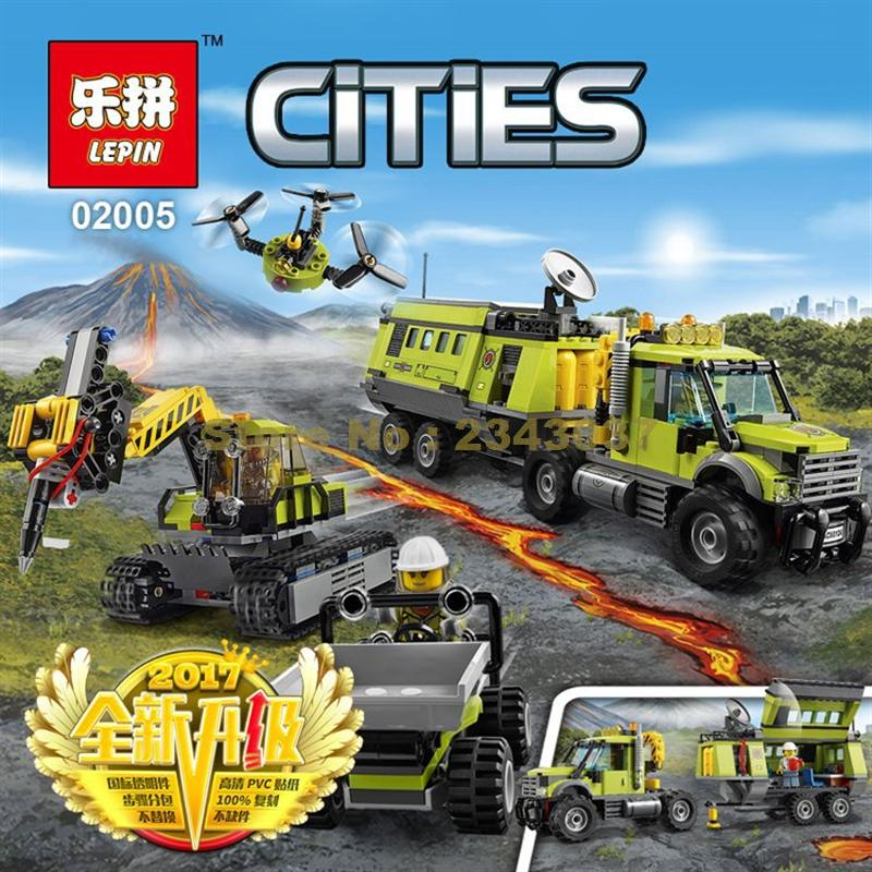 Lepin 02005 889Pcs City Series Volcano Exploration Base Building Blocks Compatible 60124 lepin 02005 volcano exploration base building bricks toys for children game model car gift compatible with decool 60124