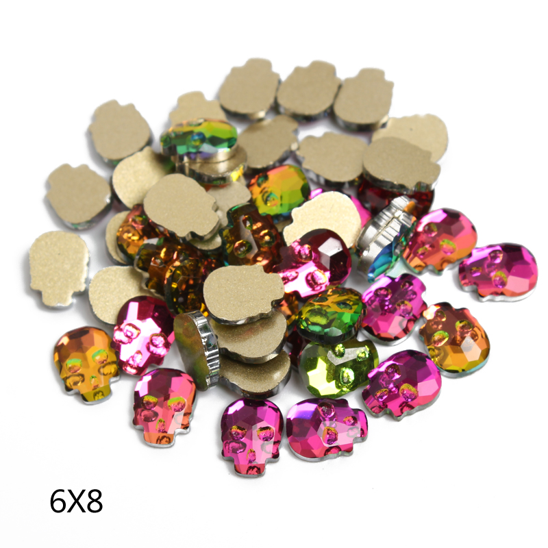 Cool !Skull head shape NEW Rainbow color Nail Art Rhinestones 6*8mm 30Pcs/Pack Shaped Glass Stones For 3D Nails Art Decoration