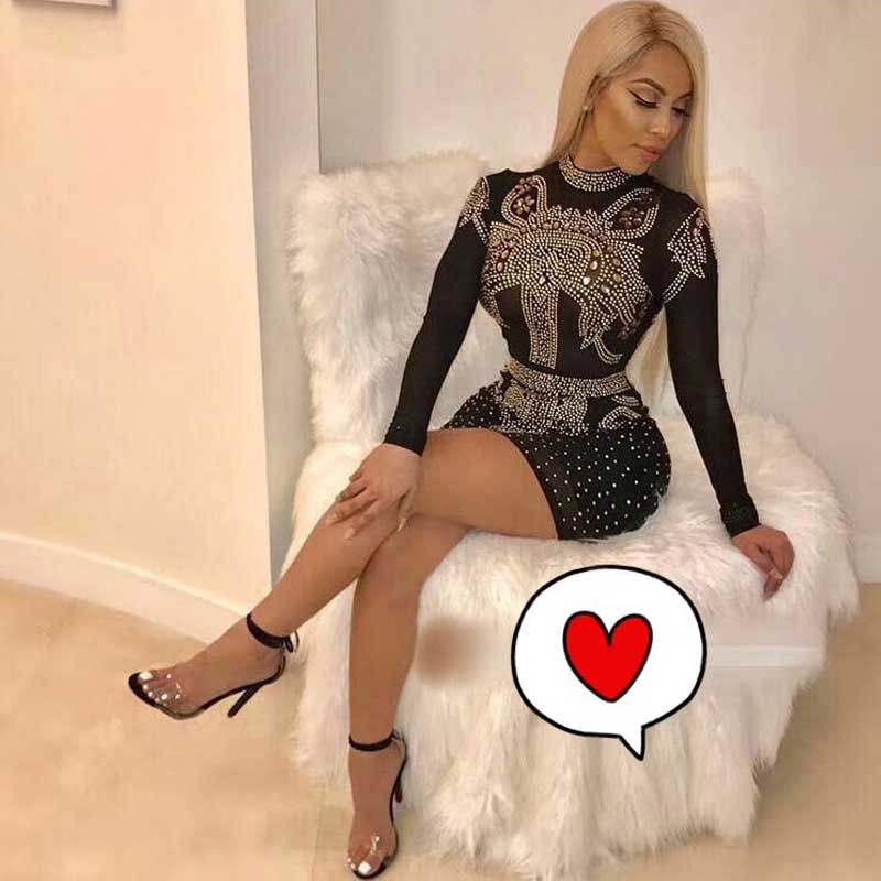 Wholesale 2019 new dress Black long sleeve Rhinestone Tight luxurious Celebrity leisure Cocktail party bandage Dress(H2672)