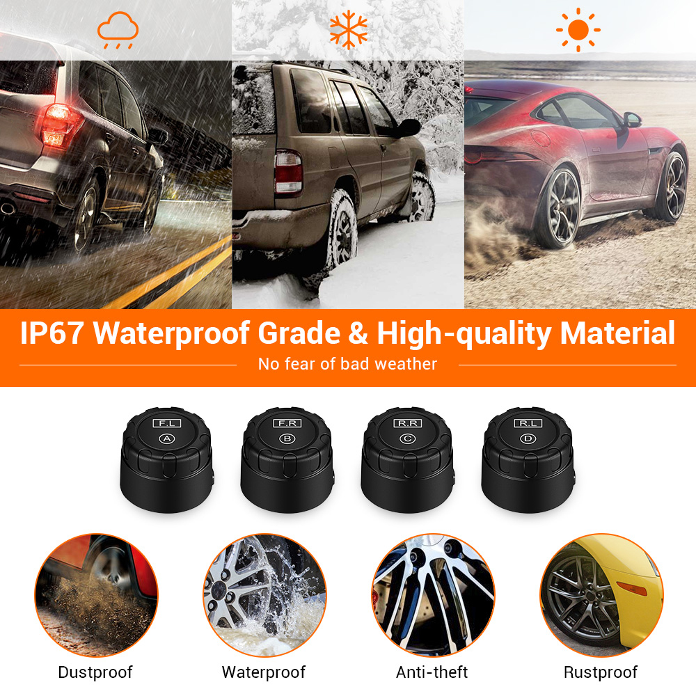 Car TPMS 5V Tire Pressure Monitoring System External Sensor Adjust LCD Display USB Auto Security Tyre Alarm for Off road Vehicle in Tire Pressure Alarm from Automobiles Motorcycles