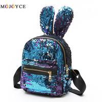 Cute Rabbit Ears Shoulder Bag Mini Sequins Backpack For Women Girls Travel Bag Bling Backpack Mochila