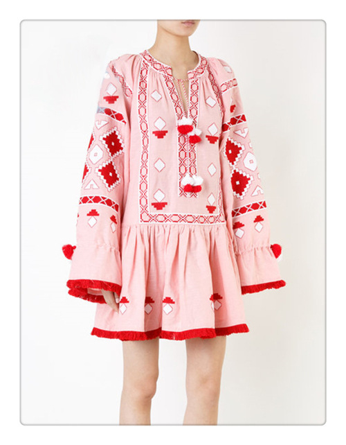 2019 ドレス刺繍ピンクドレス O ネックエレガントなルーズなドレスクラシックエスニックタッセル祭のローブガウン vestidos  グループ上の レディース衣服 からの ドレス の中 1