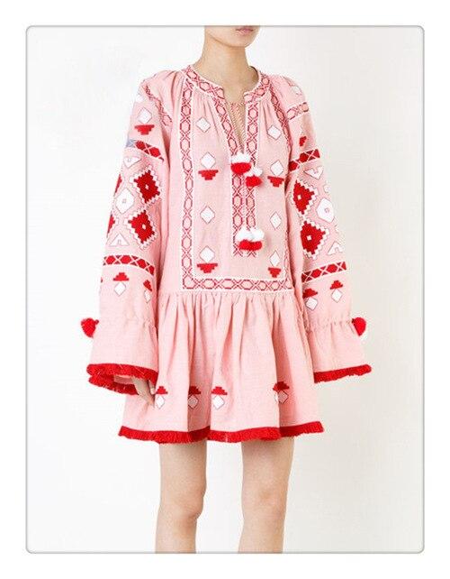 2019 vestido bohemio bordado vestido rosa cuello redondo elegante vestido suelto clásico étnico borlas vestidos festival bata vestidos-in Vestidos from Ropa de mujer    1