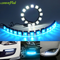 2pc Universal Car Waterproof LED Daytime Running Lights DRL 6-20pc LED Fog Light for toyota Hyundai vw bmw Mazda Kia ice blue