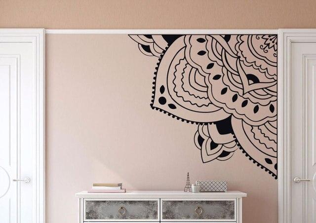 Настенная виниловая наклейка с изображением мандалы, четверть четверти, спальня, медитация, Декор, угол, мандала, обои, виниловые обои, настенное искусство MTL02