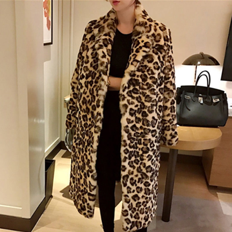 Classic Leopard Print Color Faux Fur Coat Women Long Thick Warm Jackets Fluffy Star Style Overcoats