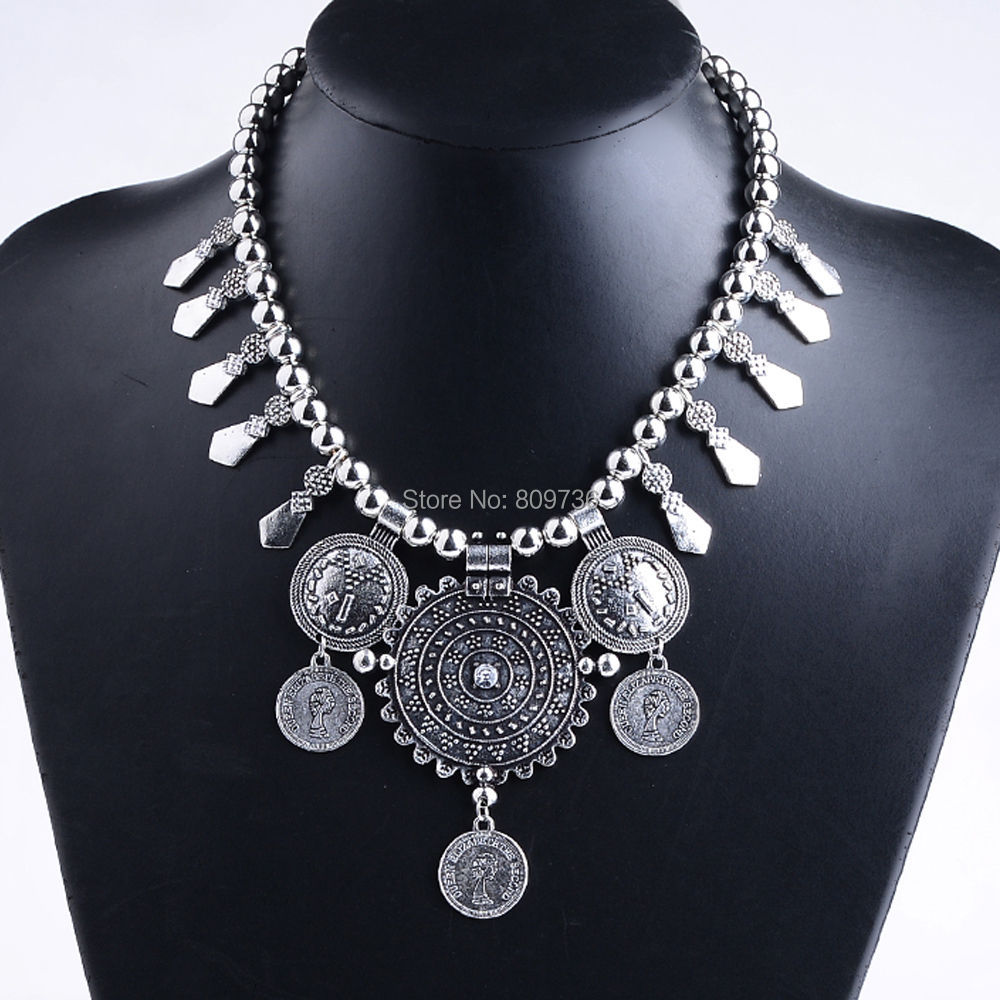 Bohemian Vintage Silver Coin Collar Statement Necklace For Women Antalya Gypsy Festival Turkish Charm Jewelry Xmas Gift Hot