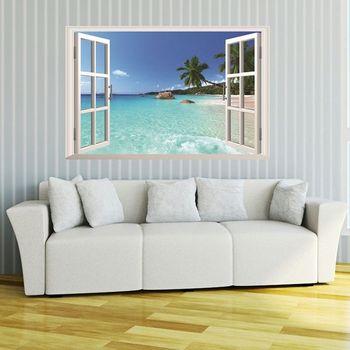 3D ventana Dimensional vista al mar Hawaii pegatina de pared Decoración Para sala de estar diseño de papel de pared arte calcomanías decoración de la casa