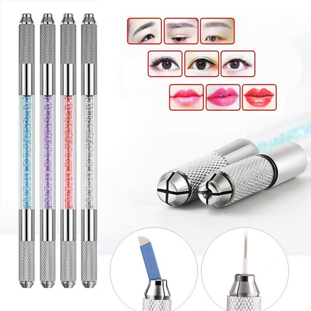 5pcs 12pin Blade Needles+Golden Tebori 3D Pen Microblading Tattoo Machine For Permanent Makeup Eyebrow Tattooing Manual Guns 5