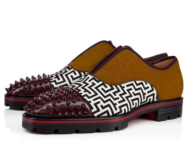Qianruiti brytyjski męskie modne buty nity Studded mokasyny antypoślizgowe oksfordzie sznurowane ślubne szpilki mężczyzn ue 39 Eu 46 w Męskie nieformalne buty od Buty na  Grupa 2