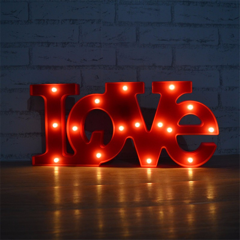 new marquee letters night light red love word led letter sign lamp use aa