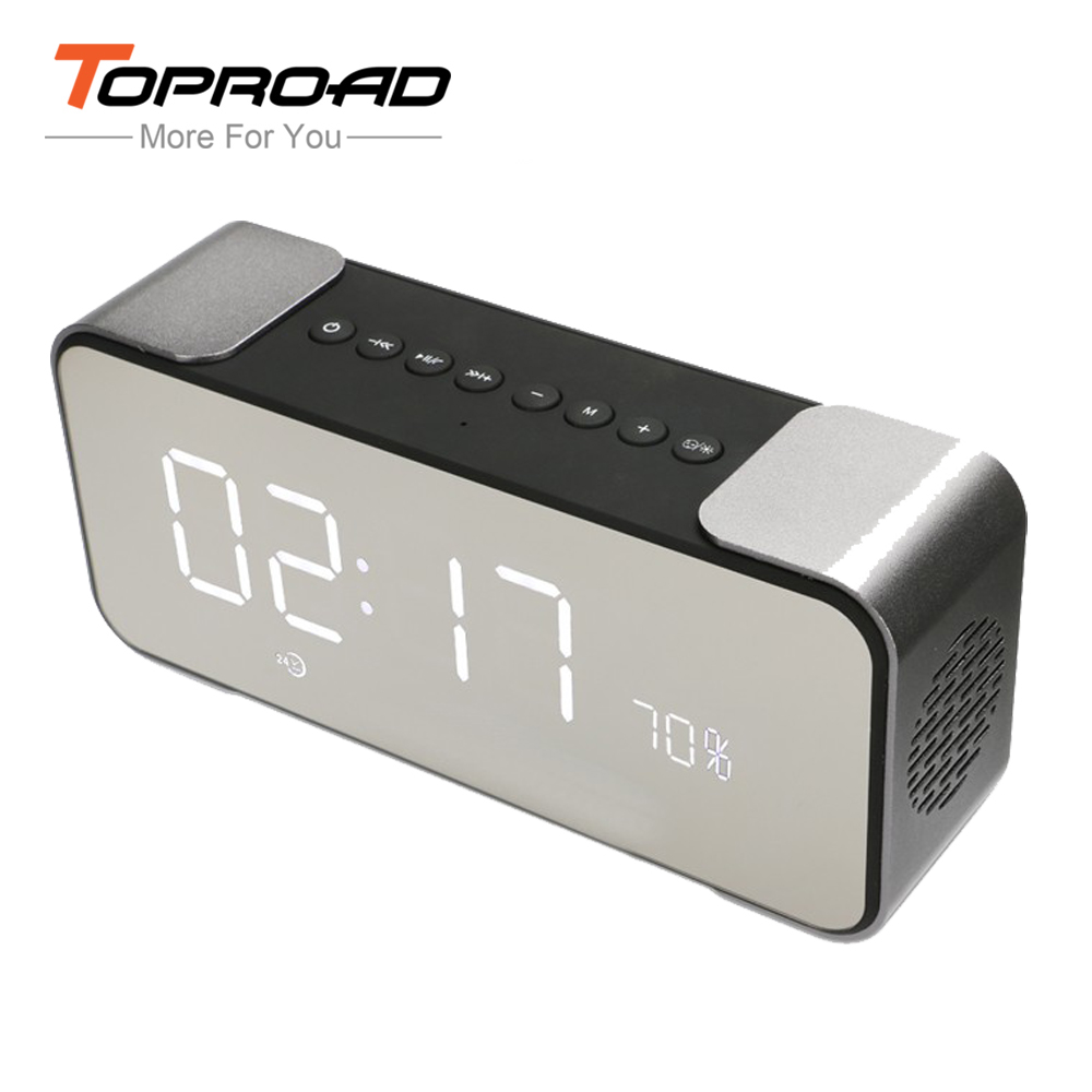 toproad portable bluetooth speaker with fm radio time alarm clock tf card aux in mp3 player. Black Bedroom Furniture Sets. Home Design Ideas