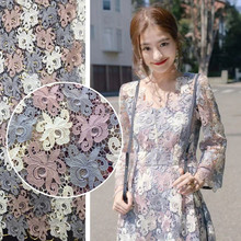 Hight Quanlity 3 color Water Soluble African lace Polyester Venice Reflective Lace Fabrics For wedding dress