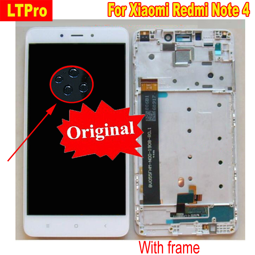 100% Original Best Quality LCD Display <font><b>Touch</b></font> <font><b>Screen</b></font> Digitizer Assembly with Frame for <font><b>Xiaomi</b></font> <font><b>Redmi</b></font> Note <font><b>4</b></font> MTK Helio Version image