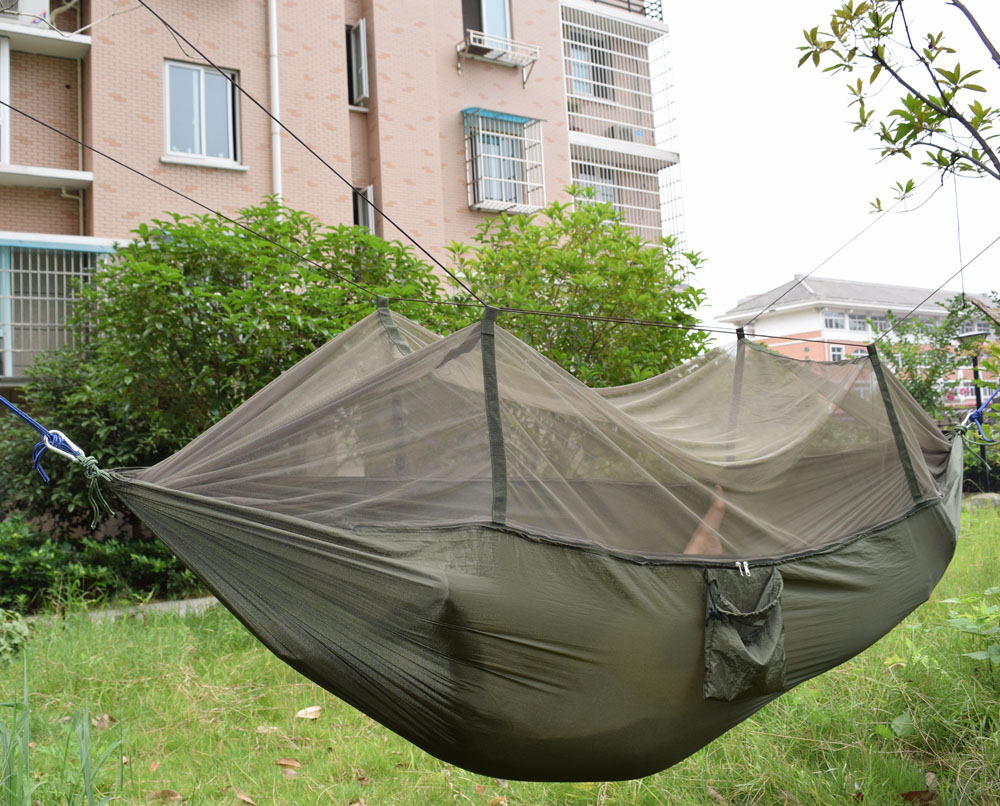 250*140cm 1 or 2 person Portable Hammock Folded Into The Pouch Mosquito Net Hammock Hanging Bed Travel Kit Camping ultralight outdoor camping mosquito net parachute hammock 2 person flyknit garden hammock hanging bed leisure hammock travel kit