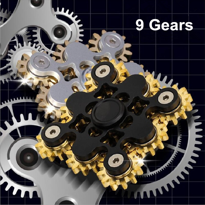 New Arrival Alloy Metal Copper 9 Gears Fidget Spinner Hand Spinner Finger Spinners Toys For Adult