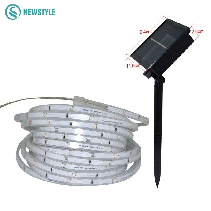 Mais novo smd2835 tira conduzida solar à prova dip67 água ip65 ip67 lâmpada solar 1600 mah 3 modos de iluminação fita ao ar livre iluminação decoração