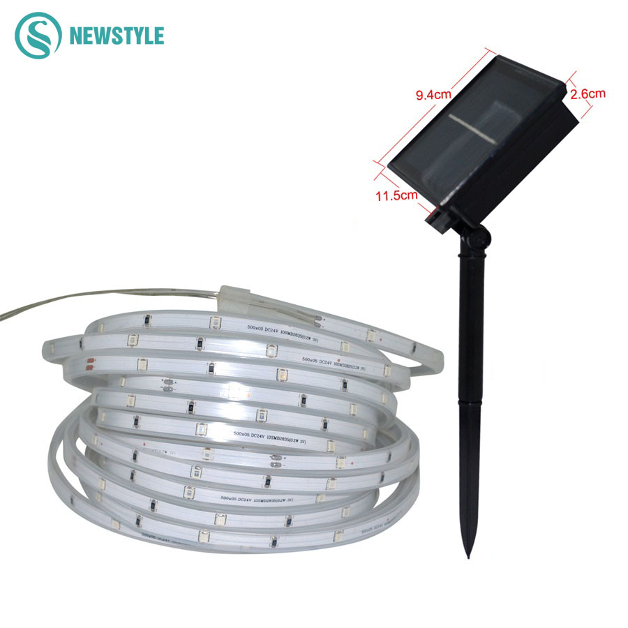 Newest SMD2835 Solar Led Strip Waterproof IP67 solar lamp 1600mAh 3 Modes lighting Tape Ribbon Outdoor lighting decoration