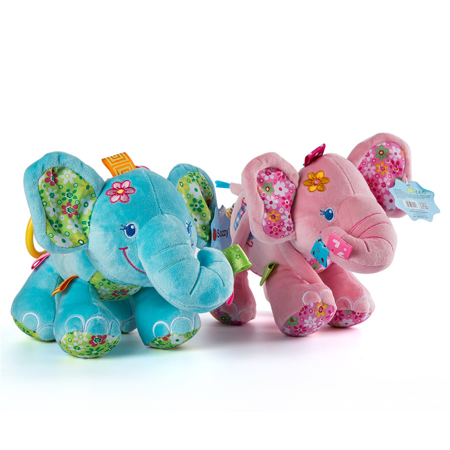 Baby Plush Toys : Mini baby elephant plush toy sounding musical rattle