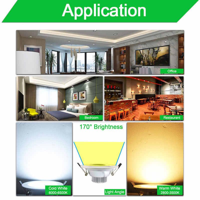 110v 220v aluminio plata blanco superficie esmerilada delgada LED Downlight 5w 10w 15w Led punto de luz LED abajo luz empotrada