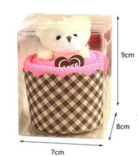 10 pcs in retail box New Arrival Creative Lovely Mini Bear Cup Cake Towel Cotton Hand Towel Face Towel Party Gifts