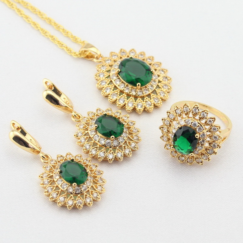 WPAITKYS Gold Color Jewelry Sets For Women Flower Green Created Emerald White CZ Earrings Necklace Pendant Rings Free Gift Box e037 women s fashionable rhinestone studded pendant earrings gold green pair