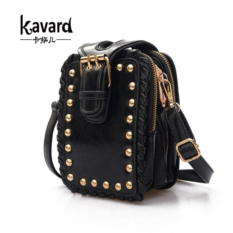 ФОТО Kavard Famous Brands 2017 Luxury Designer Rivets MINI Crossbody Bag Women Clutch Bags Purse Sac A Main Femme De Marque Luxe Cuir