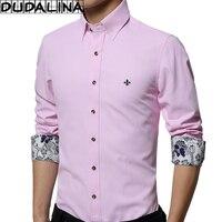 DUDALINA 2017 New Men Clothes Slim Fit Men Long Sleeve Shirt Collar Printing Casual Men Social