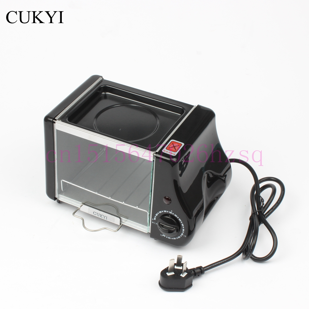 CUKYI 5L Mini Two in one breakfast machine Electric Oven&Flambe pan Breakfast maker Multifunctional mechanical 220W Fry eggs fry ice pan machine