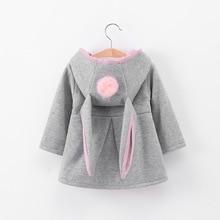 Осенне-зимнее пальто для маленьких девочек с длинными рукавами и объемными заячьими ушками; модные повседневные толстовки с капюшоном; детская одежда; детская верхняя одежда