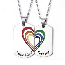 Couple Necklace Pendant Stainless Steel Gay Pride Rainbow Heart Wedding Jewelry Lesbian LGBT Chain