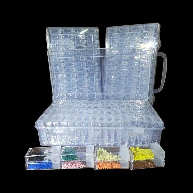 Pintura diamante Acessórios 64 Grade Recipiente Caixa de Ferramentas DIY Diamant Bordado Mosaico Broca Talão de Plástico Transparente De Armazenamento