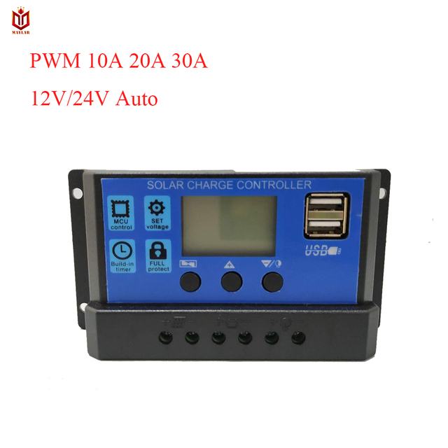 MAYLAR 24V 12V Auto Solar Battery Charge Controller Collector 10A 20A 30A PWM Solar Panel Regulator with Dual USB Output