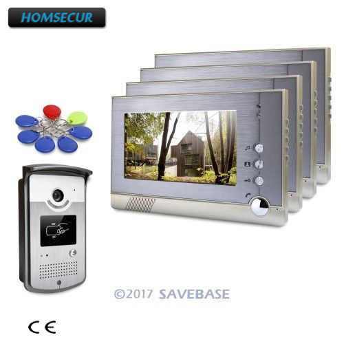 """Hot Sale Homsecur 1 Outdoor Unit + 4 Indoors Units 7"""" Hands-free Video Door Entry Security Intercom With Keyfobs Unlocking Camera Beneficial To The Sperm"""