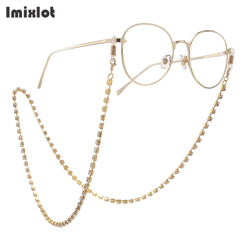Gold/Silver Color Vintage Rhinestone Eyeglass Chain Reading Glasses Spectacles Sunglasses Holder Neck Cord Metal Strap Chain