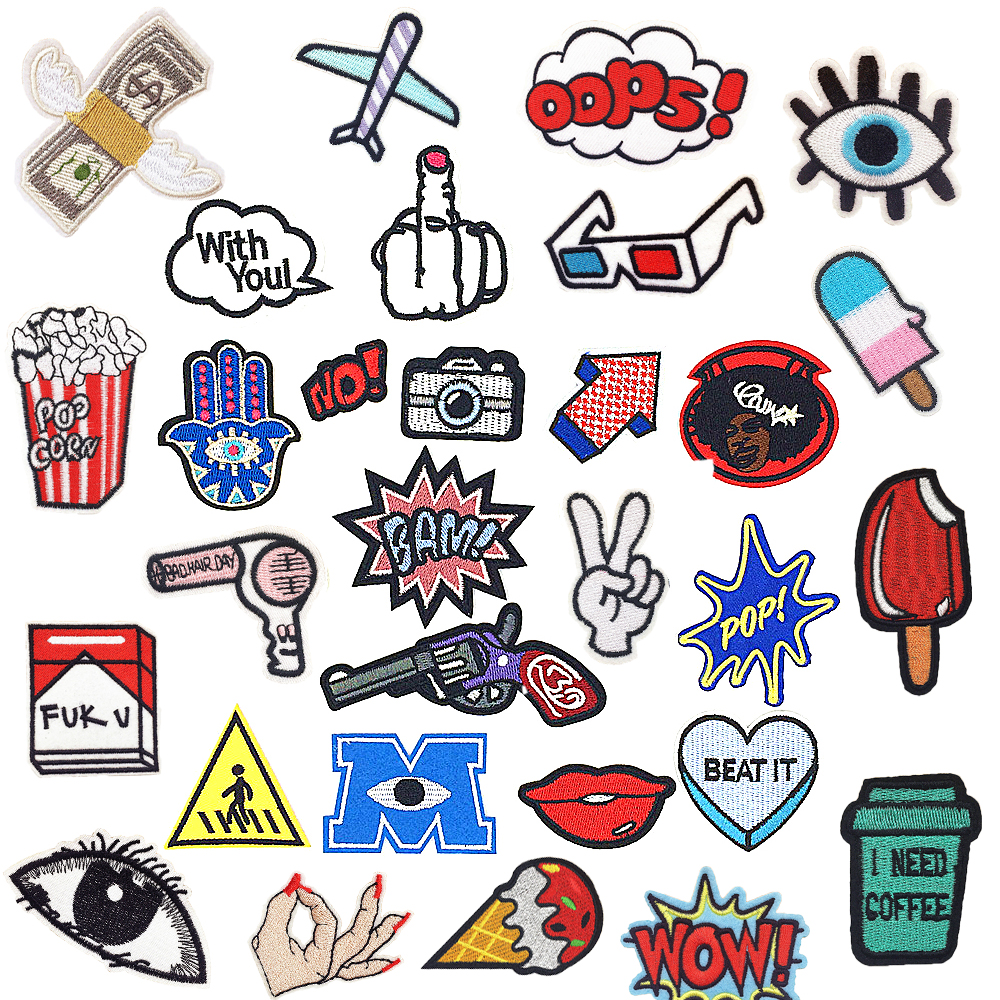 1 PC Sticker for Clothes Applicationss Patches on Clothing Iron Cartoon Stripes Embroidered Patch for Backpack Handbag Badges in Patches from Home Garden