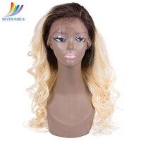 Sevengirls бразильский Ombre 1B/613 блондинка девственница человеческие волосы Искусственные парики свободная волна 360 синтетический Frontal шнурка